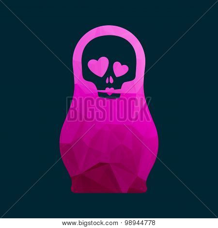 Russian doll icon logo silhouette mosaic faceted illustration.