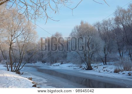 Winter Scene On The River