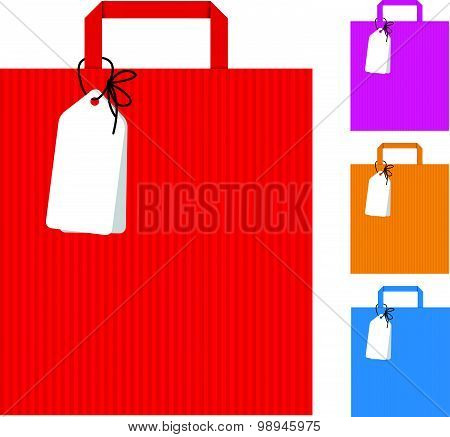 Red pink yellow blue bag shopping and tag banner vector design