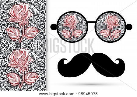Retro hipster sunglasses with floral rose ornament and mustaches, seamless lace pattern.