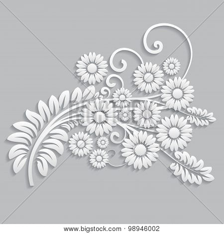 Flowers And Floral Elements Cut From Paper