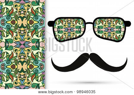 Retro hipster sunglasses with ornament and mustaches, seamless floral geometric pattern.