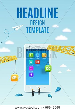 Construction White Smartphone, Software And Mobile Application Development. Vector Template Design C
