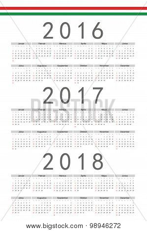 Set Of Rectangle Hungarian 2016, 2017, 2018 Year Vector Calendars