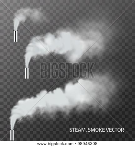 Realistic Steam, Smoke Pipe On Transparent Background . Vector