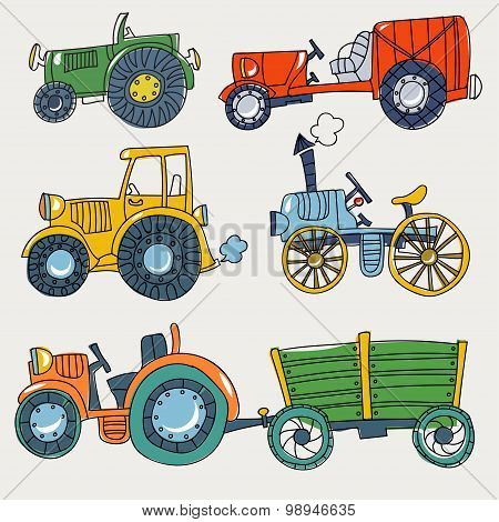 Doodle  agricultural tractors on a white background.