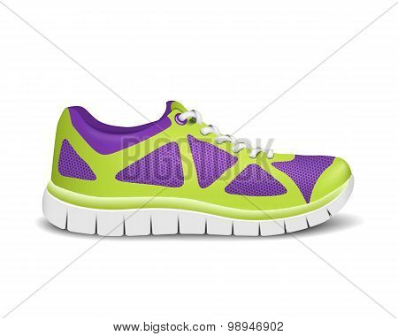 Realistic Bright Sport Sneakers For Running. Vector Illustration