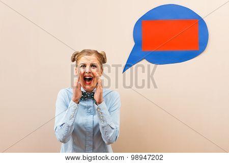 Desperate geek girl shouting