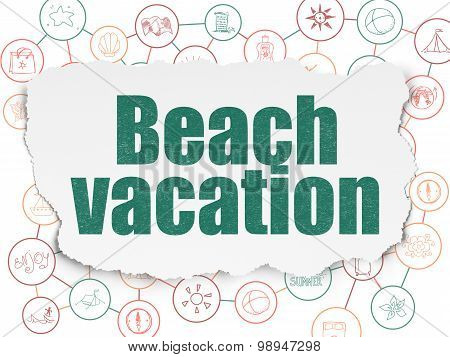 Vacation concept: Beach Vacation on Torn Paper background