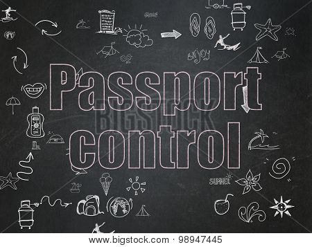 Travel concept: Passport Control on School Board background
