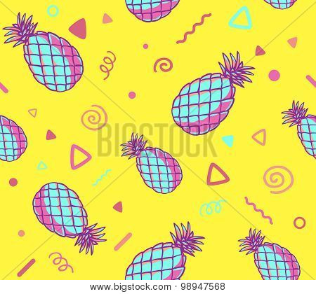 Vector Illustration Of Pink And Blue Pattern With Pineapples On Yellow Background.