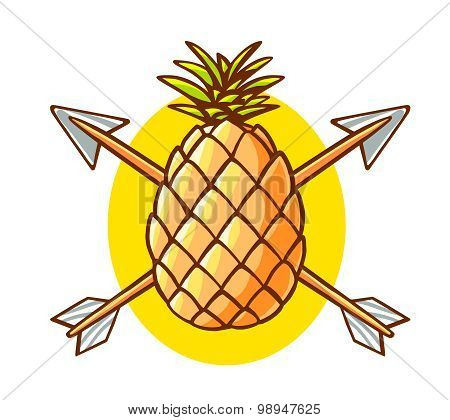 Vector Illustration Of Colorful Yellow Pineapple Pierced By Two Arrows On White Background.