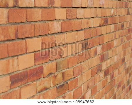 Rough brick wall of earth and terracotta colored bricks