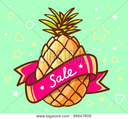 Vector Illustration Of Colorful Yellow Pineapple With Red Ribbon On Green Background.