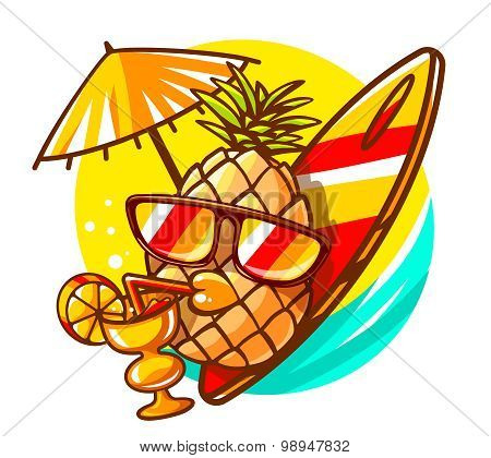 Vector Illustration Of Colorful Yellow Hipster Pineapple With Sunglasses, Surfboard And Cocktail On
