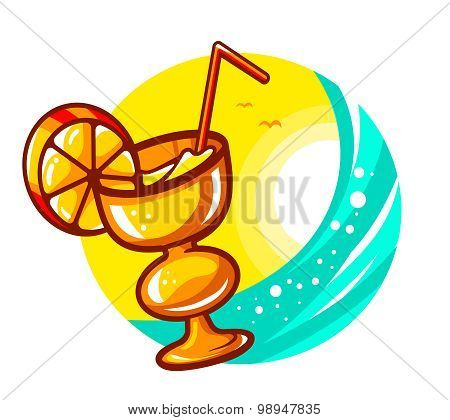 Vector Illustration Of Colorful Yellow Cocktail Glass On Sunny Sea Background.