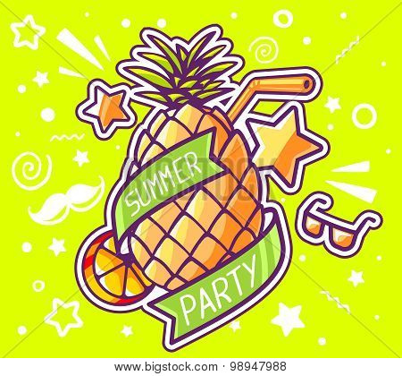 Vector Illustration Of Colorful Yellow Pineapple With Ribbon And Straw On Green Background.