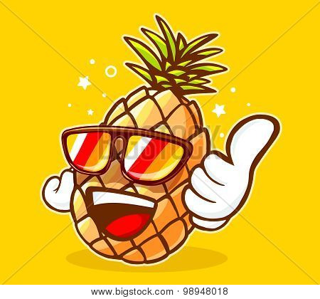 Vector Illustration Of Colorful Hipster Pineapple With Sunglasses And Thumb Up On Yellow Background.