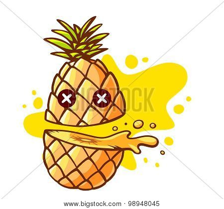 Vector Illustration Of Colorful Pineapple Cut In Half With Eyes And Yellow Spot On White Background.