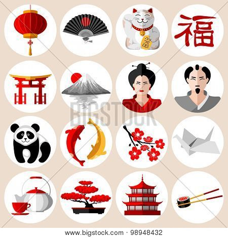 Japanese icons set in flat style with different traditional symbols and attributes. Vector illustration. Isolated on white background.