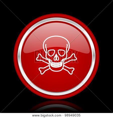 skull red glossy web icon chrome design on black background with reflection
