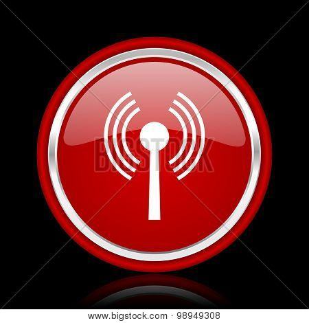 wifi red glossy web icon chrome design on black background with reflection