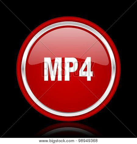 mp4 red glossy web icon chrome design on black background with reflection