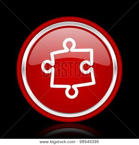 puzzle red glossy web icon chrome design on black background with reflection