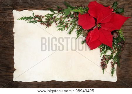 Christmas background border with poinsettia flower holly, ivy and fir on parchment paper over old oak wood.