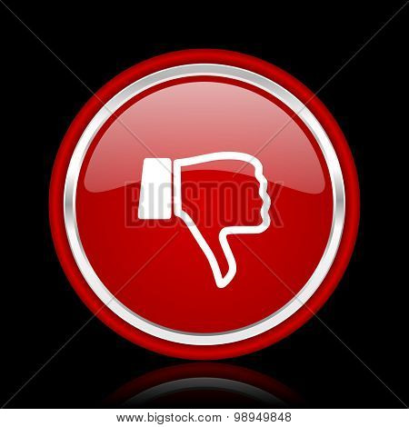 dislike red glossy web icon chrome design on black background with reflection