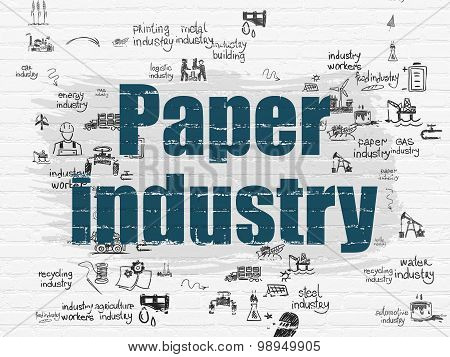 Manufacuring concept: Paper Industry on wall background