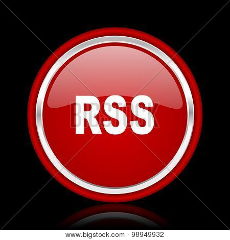 rss red glossy web icon chrome design on black background with reflection