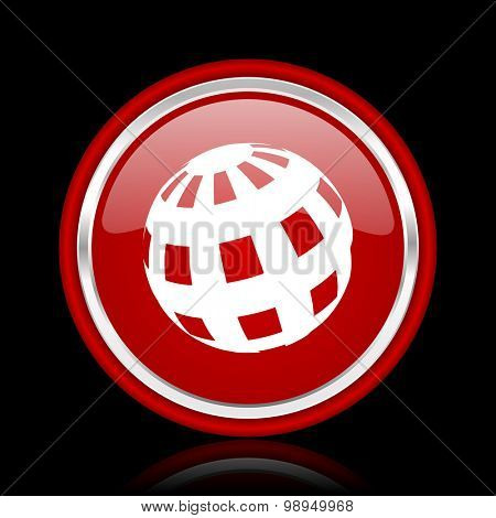 earth red glossy web icon chrome design on black background with reflection