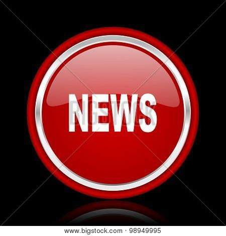 news red glossy web icon chrome design on black background with reflection