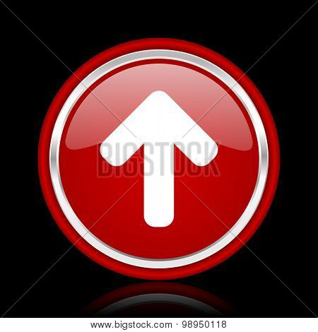 up arrow red glossy web icon chrome design on black background with reflection