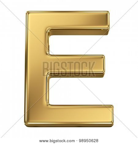 Golden shining metallic 3D symbol letter E - isolated on white