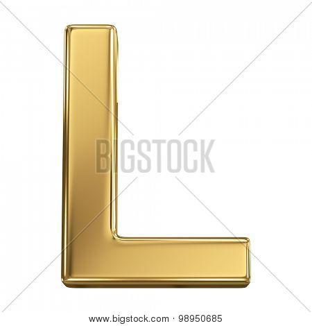 Golden shining metallic 3D symbol letter L - isolated on white