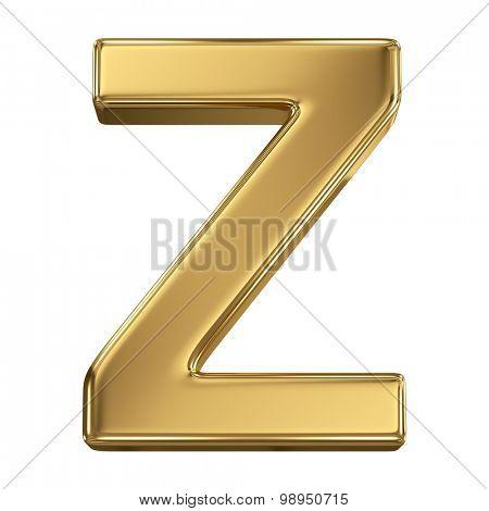 Golden shining metallic 3D symbol letter Z - isolated on white