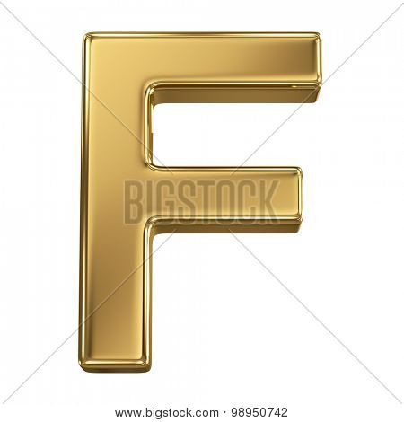 Golden shining metallic 3D symbol letter F - isolated on white
