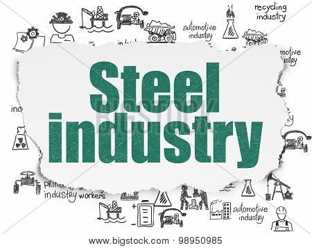 Industry concept: Steel Industry on Torn Paper background