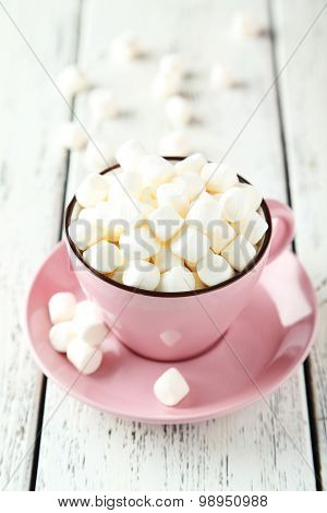 Mini Marshmallows in a pink teacup