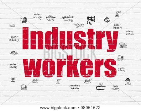 Industry concept: Industry Workers on wall background