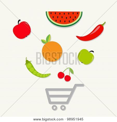Organic Fruits And Vegetables On The Shopping Cart Basket. Healthy Food Eating Concept Apple, Cherry