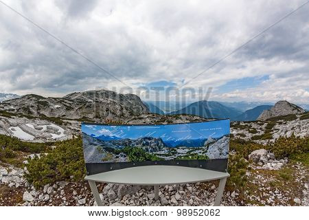 Dachstein Panorama With Info Sign