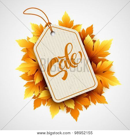 Autumn seasonal sale label. Vector illustration