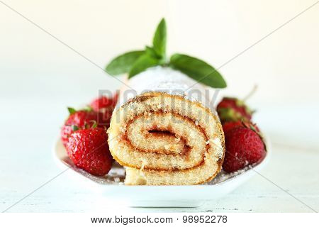 Fresh Strawberries Cake On Plate On White Wooden Background