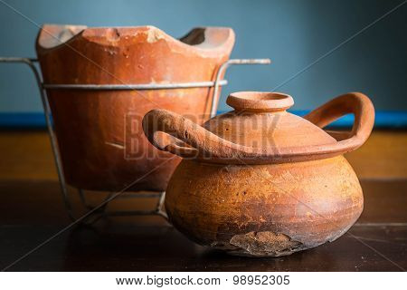 Old Clay Pot With Cracks