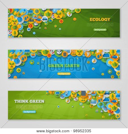 Banners with Icons of Ecology, Environment, Green Energy and Pollution