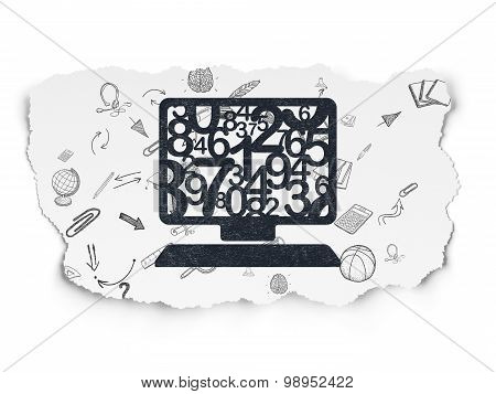 Studying concept: Computer Pc on Torn Paper background