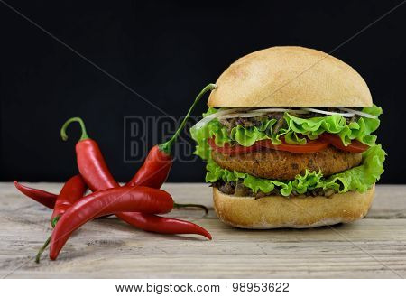 Burger And Red Hot Chili Pepper